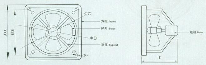 工业换气扇结构图