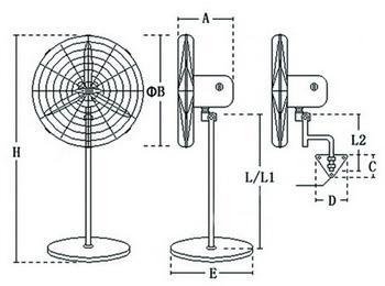 工业电风扇安装尺寸结构图